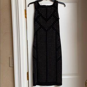 Unworn Calvin Klein black studded midi dress